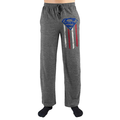 Superman American Flag Shield Print Men's Lounge Pants-Nerd Gear Lab