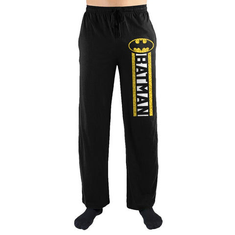 DC Comics Batman Yellow Stripe Men's Lounge Pants - Nerd Gear Lab