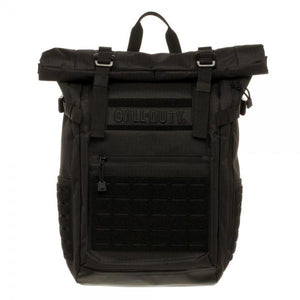 Call of Duty Black Military Roll Top Backpack with Laser Cuts - Nerd Gear Lab