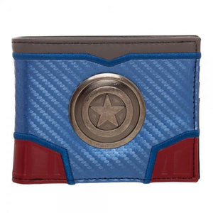 Marvel Captain America Carbon Fiber Bi-Fold Wallet - Nerd Gear Lab