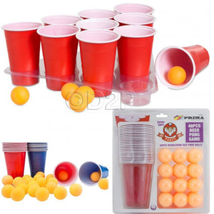 Beer Pong Kit 24 Pong Balls and 24 Red Cups - Nerd Gear Lab