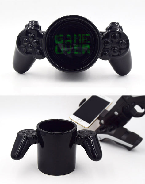 Black Ceramic Game Over Controller Mug - Nerd Gear Lab