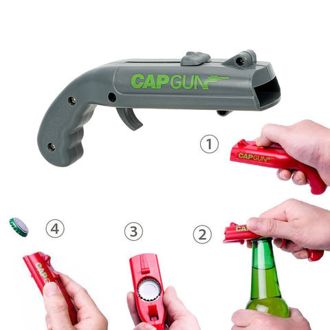 NEW Firing Cap Gun Flying Cap Launcher Bottle Opener - Nerd Gear Lab
