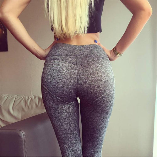 Heart Shaped Gray/Black Active Leggings High Waist - Shop Leggings