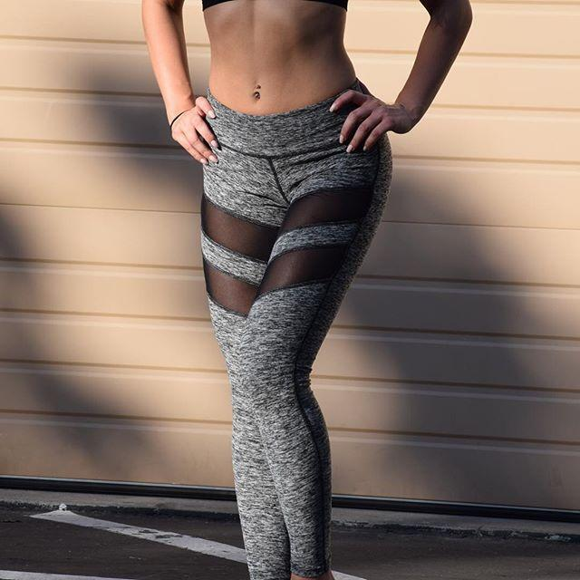 Gray Active Leggings Featuring Thigh Mesh Stripes High Waist - Shop Leggings