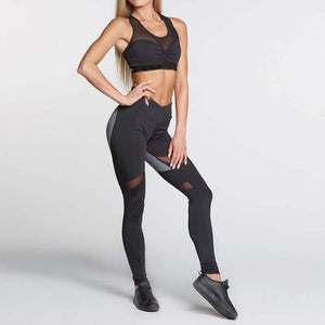 Heart-Shaped Gray/Black Active Mesh Mid Waist Leggings - Shop Leggings