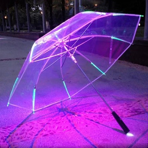 New 7 Colour Changing Color LED Luminous Transparent Umbrella Rain Kids Women with flashlight for friends Gift