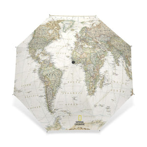 Women's Men's Vintage World Map Automatic 3 Fold Umbrella