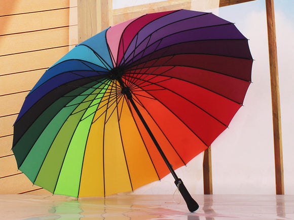Big and Long Rainbow Umbrella Non-automatic Long-handle