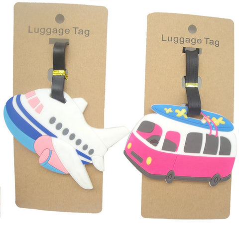 Travel Accessories Luggage Tag Cartoon Aircraft Car for Bags