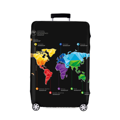 Abstract Map Luggage Protective Cover Black Elastic Suitcase & Trolley Travel Case