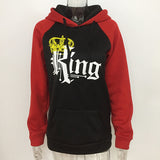 Red and Black KING QUEEN Couple Hoodies