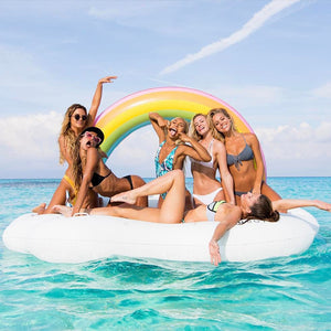 240cm 60inch Giant Inflatable Rainbow Cloud Pool Float Summer Water Party Ride-On