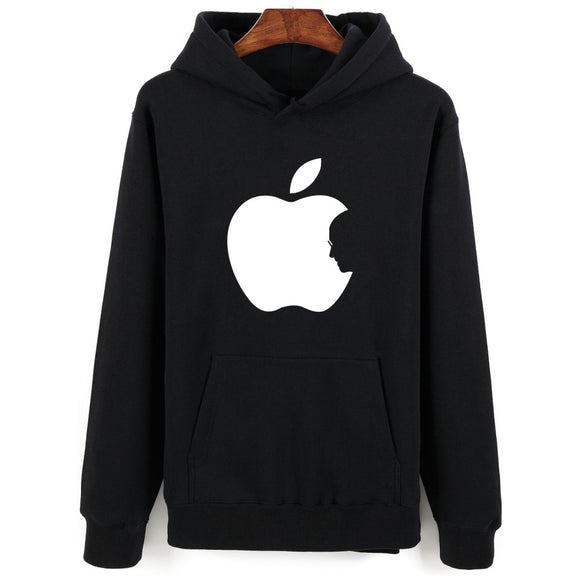 New Arrival Apple Print Winter Autumn Punk Hoodie Men with Steven Jobs Print