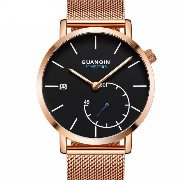 GUANQIN Brand Watches Men Luxury Mesh Strap Quartz Watch