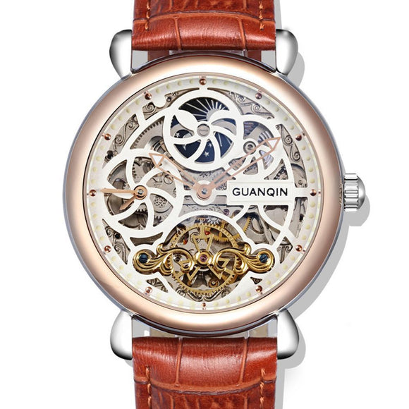 GUANQIN Famous Brand Men Mechanical Watch Sapphire Hollow Big Dial Watch