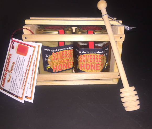 Somerset Honey Gift Pack 2 x 8oz jar and twister