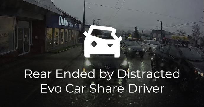 Caught on Dash Cam: Rear Ended by Distracted Evo Car Share Driver in Prius C