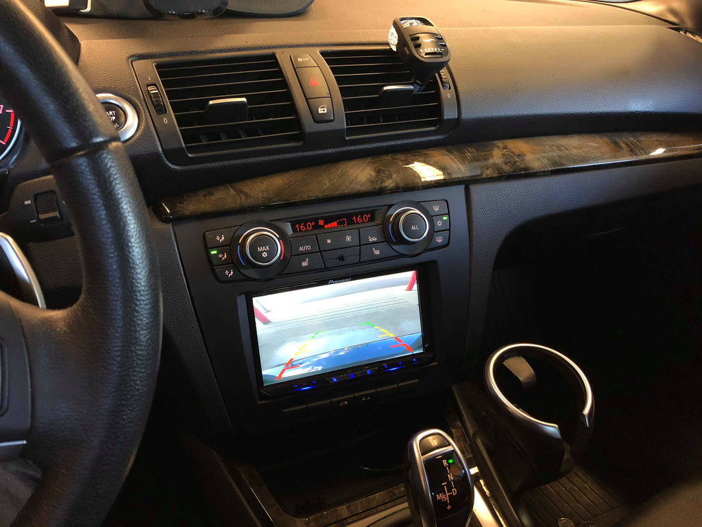BMW 1 series backup camera feed double din