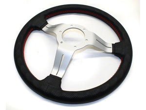 Nardi Deep Corn 330mm Black Perforated Leather and Red Stitch Steering Wheel - Overdrive Auto Tuning, Steering Wheels auto parts