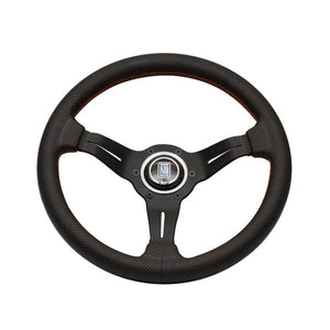 Nardi Deep Corn Sport Rally 330mm Black Perforated Leather and Red Stitch Steering Wheel - Overdrive Auto Tuning, Steering Wheels auto parts