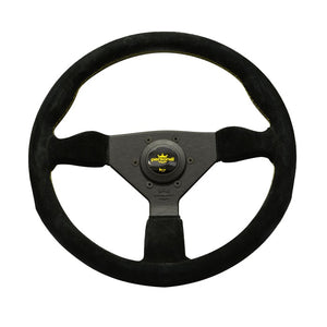 Personal Grinta 350mm Black Suede Yellow Stitch Steering Wheel - Overdrive Auto Tuning, Steering Wheels auto parts