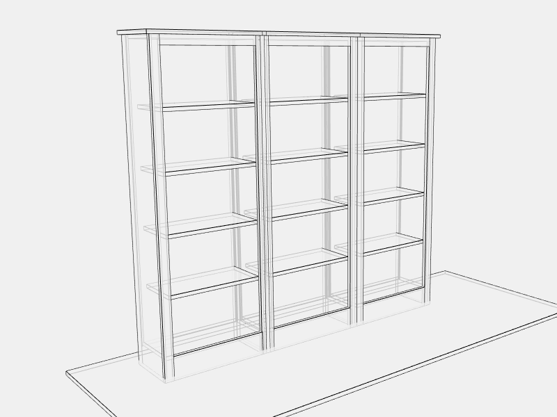 Mid Triple Bookcase