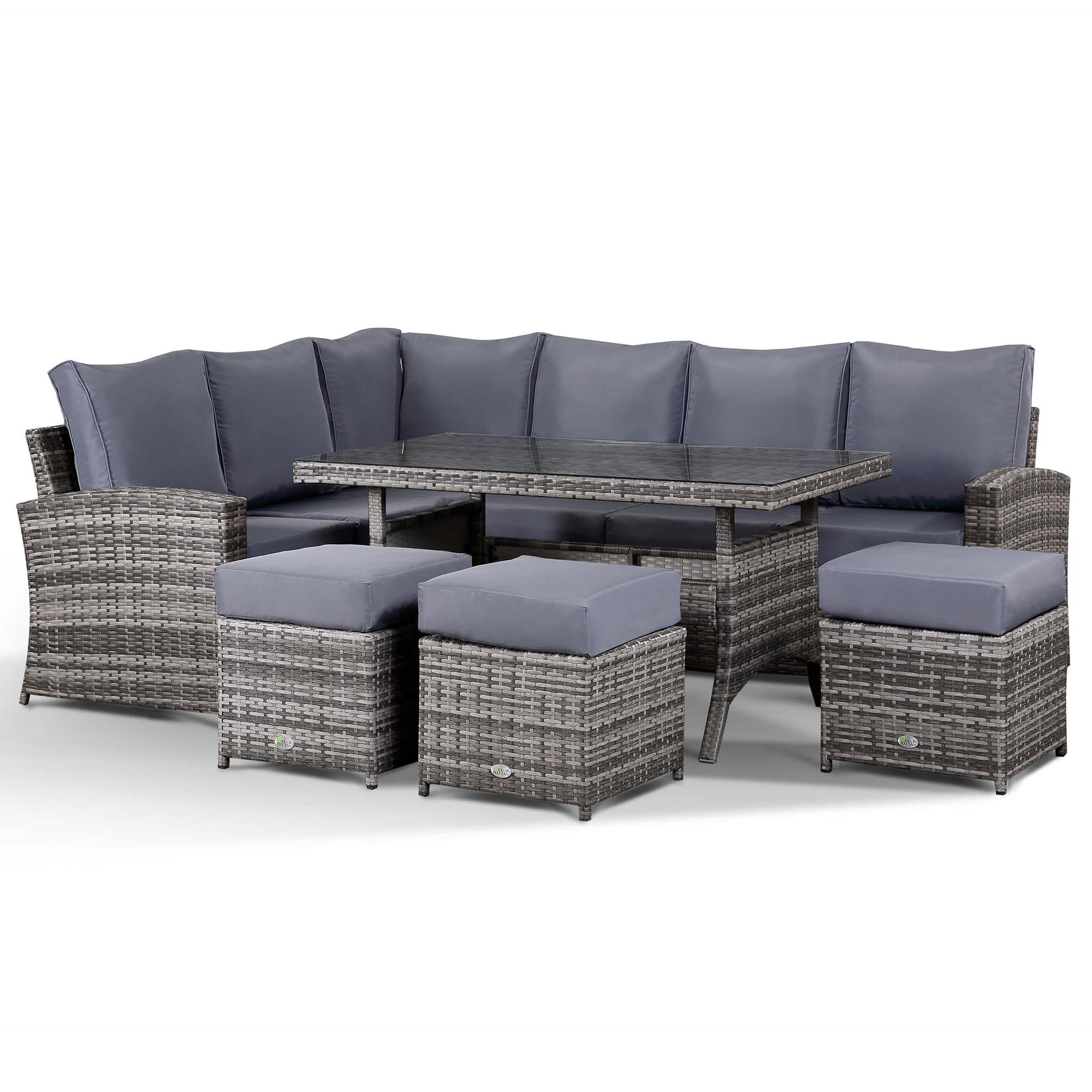 Club Rattan Harmony Garden Corner Sofa with Dining Table and