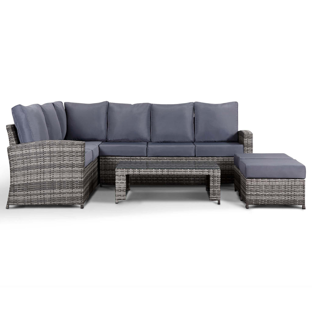 Harmony Corner Sofa with Coffee Table and 2 Stools in Small Grey ...