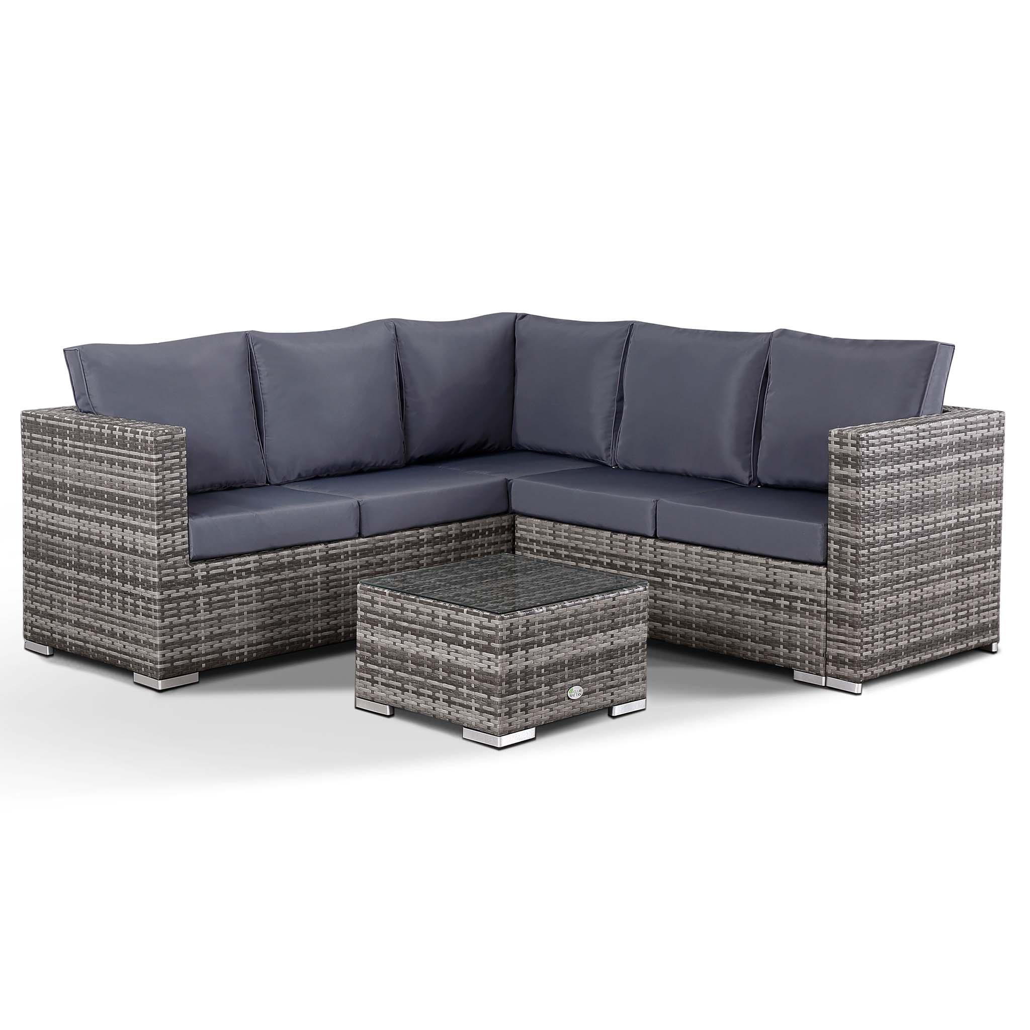 Small Grey Rattan Coffee Table: Lille Corner Sofa With Coffee Table In Small Grey Rattan