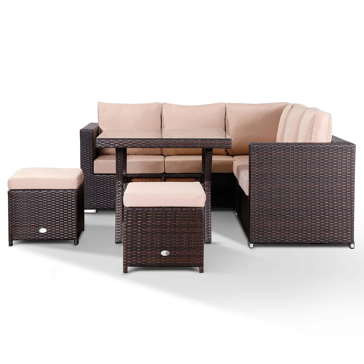 Lille Corner Sofa With Dining Table And 2 Stools In Small