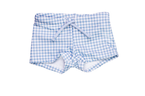 bells blue gingham budgie brief
