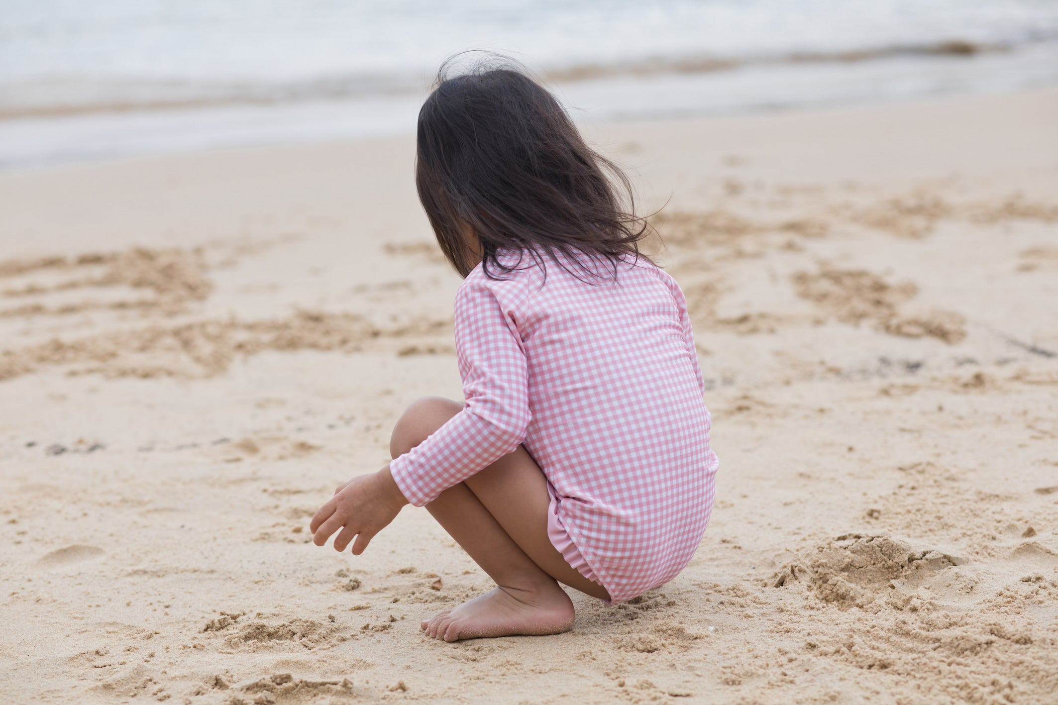 pambula pink gingham surf suit