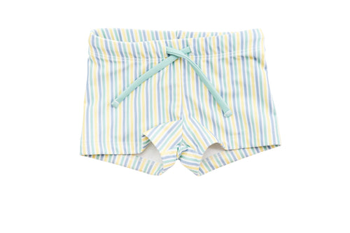 harry & pop budgie brief in bondi blue stripe | UPF 50+ swimwear for kids, toddlers, baby