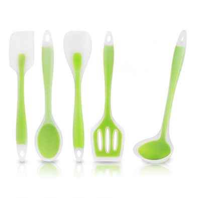 5pcs/set Kitchen Cooking Utensil Set Heat Resistant Cooking Tools including Spoon Turner Spatula Soup Ladle Color Green-The Innovative Kitchen