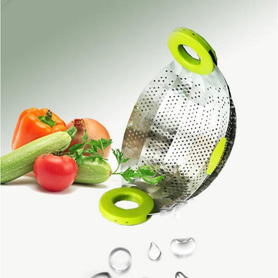 Adjustable Stainless Steel Smart Strainer with Rubber Grip Handles for vegetable/ Fruit Colander-The Innovative Kitchen