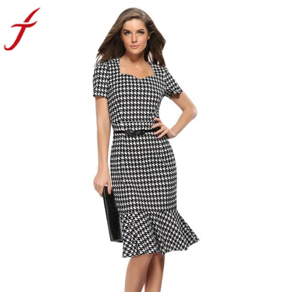 Womens Elegant Plaid Bodycon Work Cocktail Party Celebrated office Pencil Dress Summer Sundresses - Online Shopp