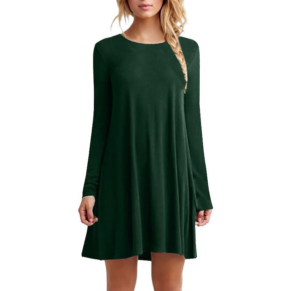 Autumn Women Long Sleeve Casual Loose Pleated Mini Party O-Neck Dresses Women's Clothing - Online Shopp