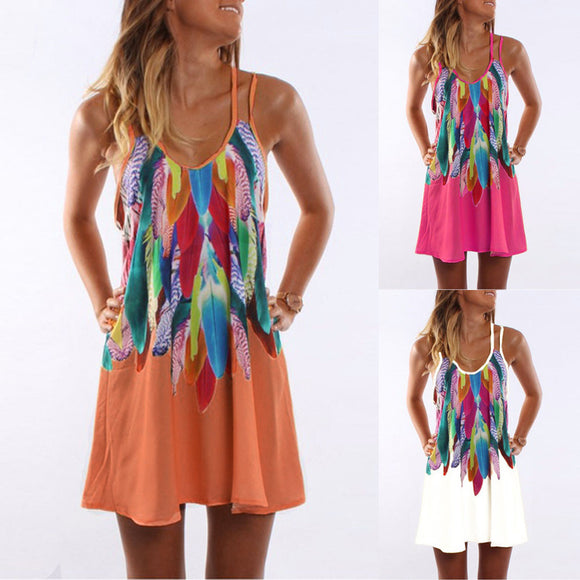 Women's Summer Boho Casual Printed Maxi Party Cocktail Beach Dress Sundress