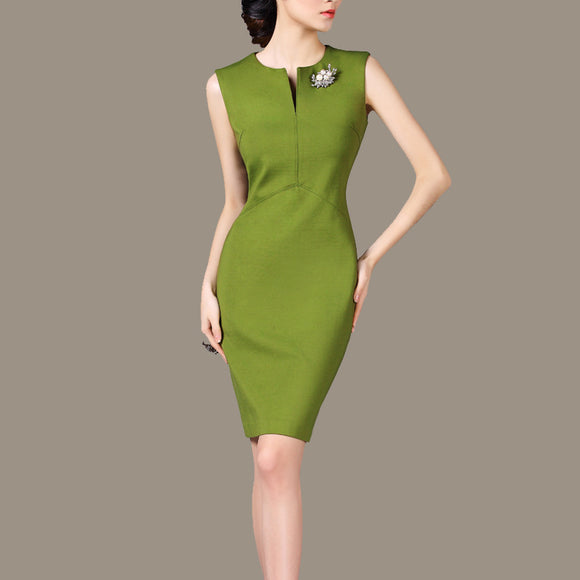 Woman Summer Ol Plus Size Solid Sleeveless O Neck Knee-length Slim Dresses Lady Spring Classical Fashion Hedging Slim Dress - Online Shopp