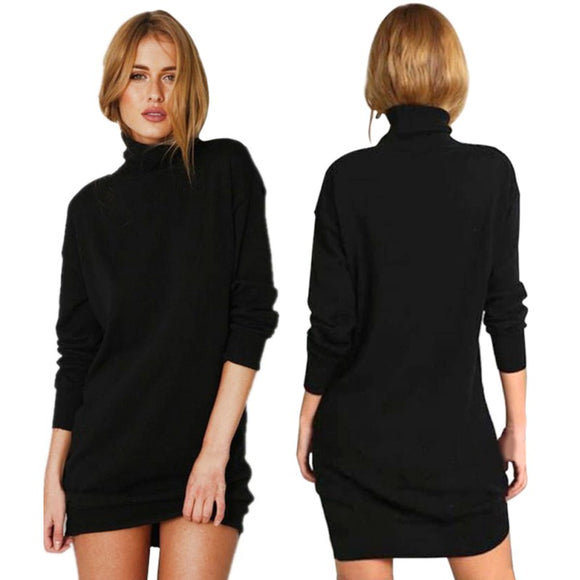 Newest Style Spring Winter Warm Stretch Dresses Vestidos Party Dresses Long Sleeve Knit BodyCon Slim Sweater Dress Black DQ09 - Online Shopp