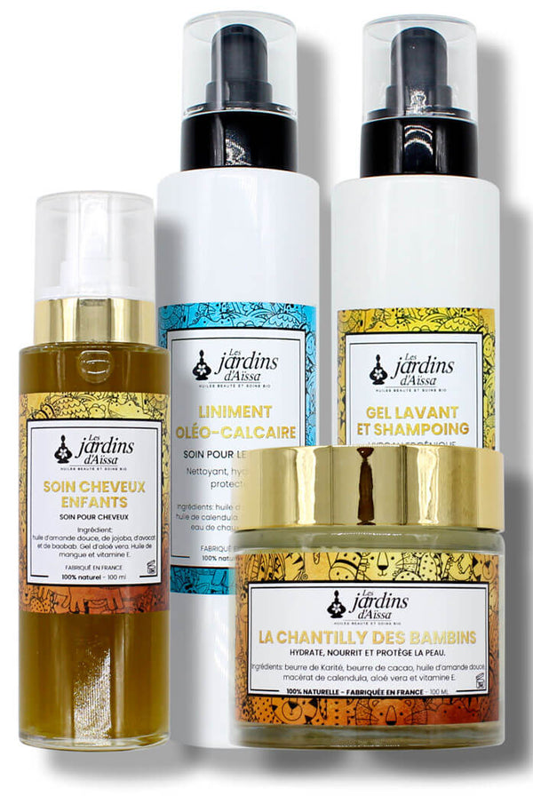 Hair and skin care trio for children / babies 100% organic and natural