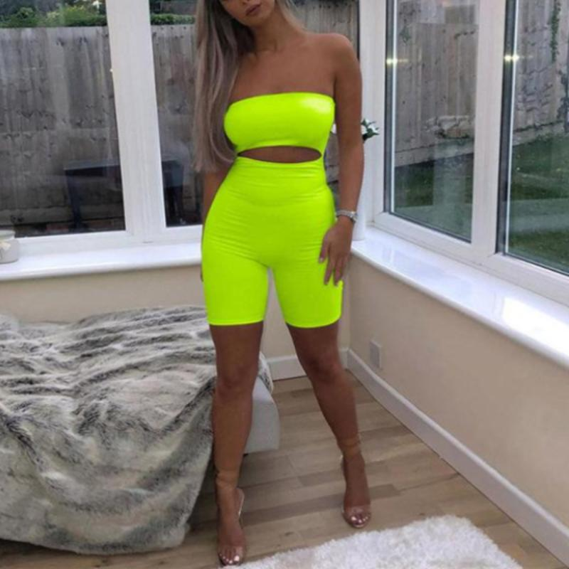Color Hollow Out Romper