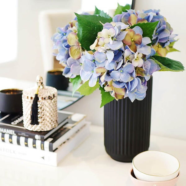 Artificial blue hydrangea bouquet faux flowers