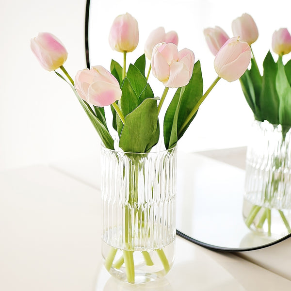 White Pink Tulip Bouquet - Faking Beautiful
