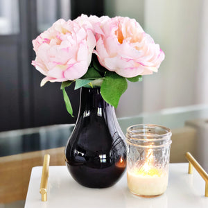 Petite White Pink Peony Bouquet - Faking Beautiful