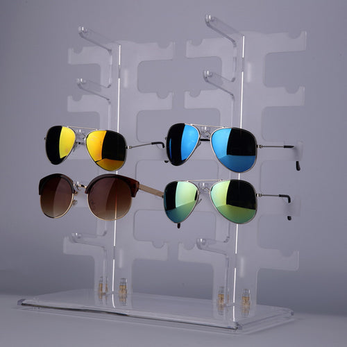 2 Row 10 Pairs Sunglasses Glasses Rack Holder Frame Display Stand Transparent 2016 Fashion