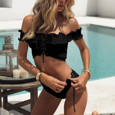 Fabulous Sexy Cross Swimwear Women Sexy Folds