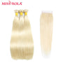 Miss Rola Hair Pre-colored Hair Brazilian Straight 613 3 Bundles Human Hair With Closure Non-Remy Hair Free Shipping - Slim Body Secret