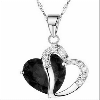 Fashion Women Heart Crystal Rhinestone Silver Chain Pendant Necklace Jewelry Pang heart Crystal Necklace #30 - Slim Body Secret